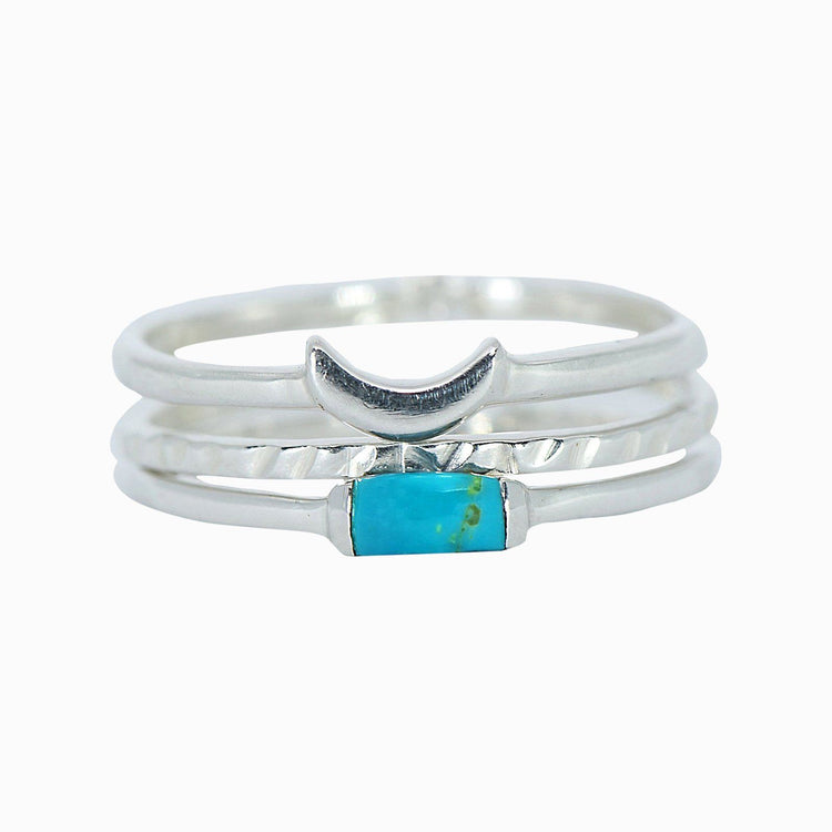Baguette Crescent Stackable Ring Pack