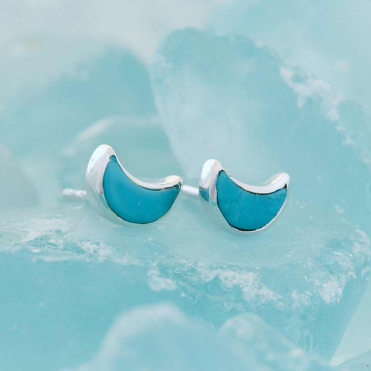 Crescent Moon Stud Earrings