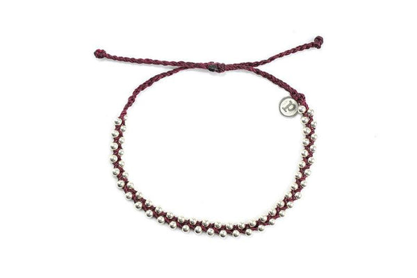 Beaded - Silver Track Bead Burgundy