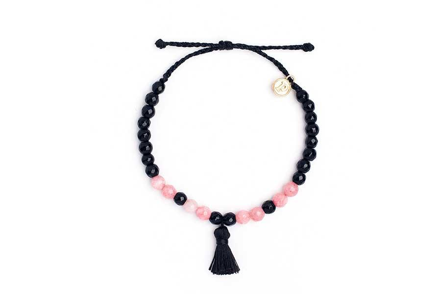 Black and Coral Mala Bead