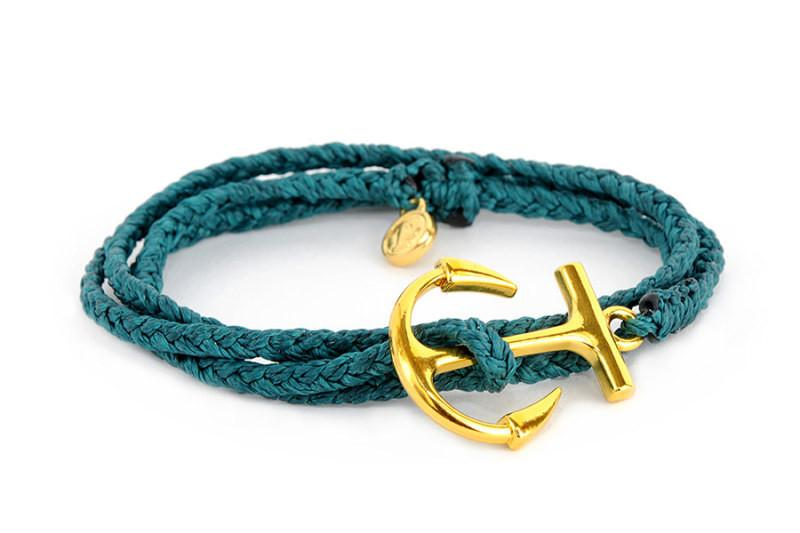 Gold Charms - Gold Anchor Mediterranean Green