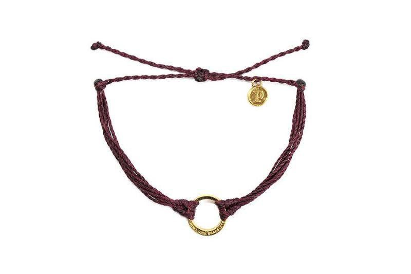 Gold Charms - Gold Circle Burgundy