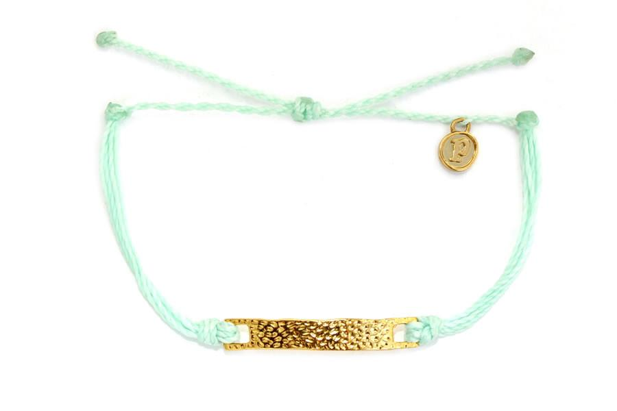 Gold Hammered Flat Bar Seafoam