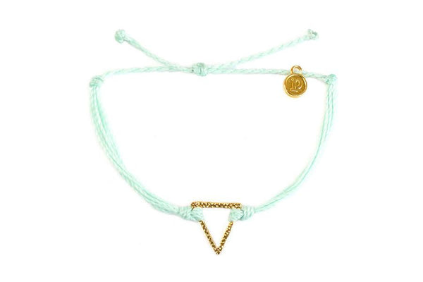 Gold Hammered Charms - Gold Hammered Triangle Seafoam