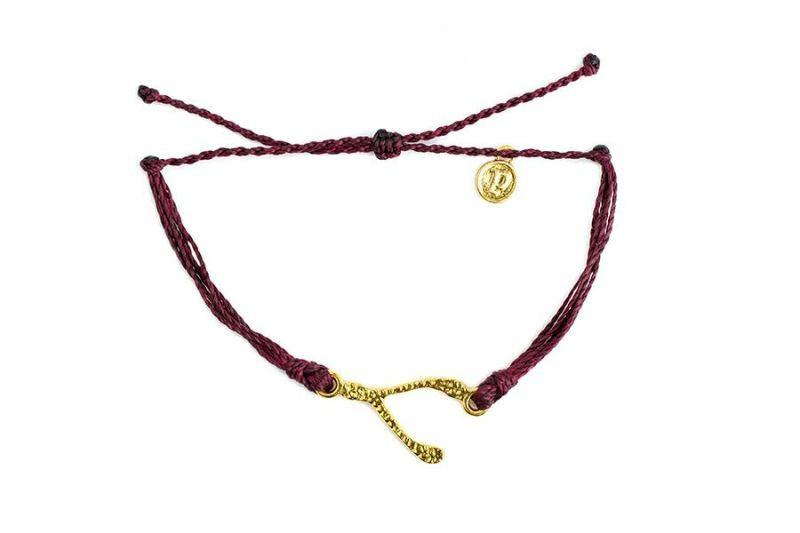 Gold Hammered Charms - Gold Hammered Wishbone Burgundy