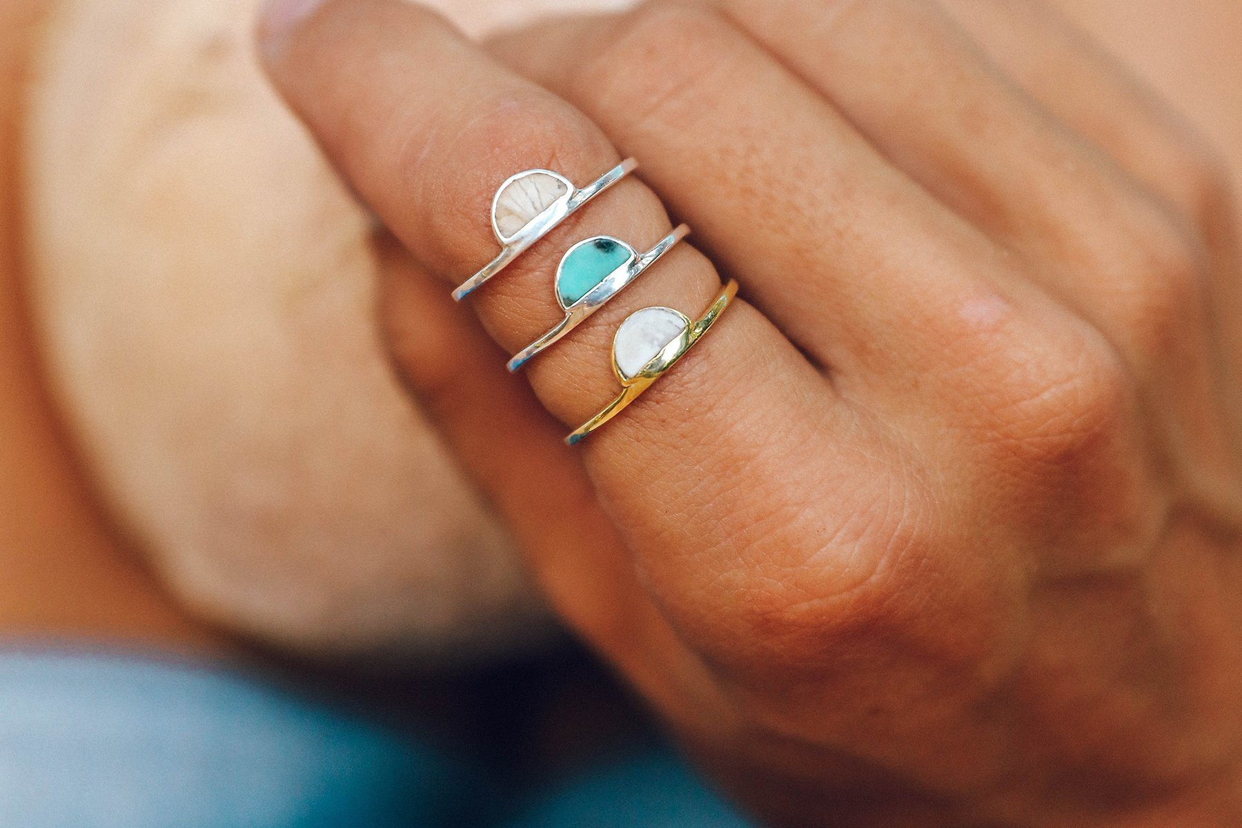 Half Moon Howlite Ring