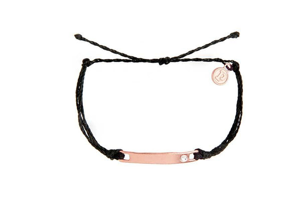 Rose Gold Crystal Flat Bar Black