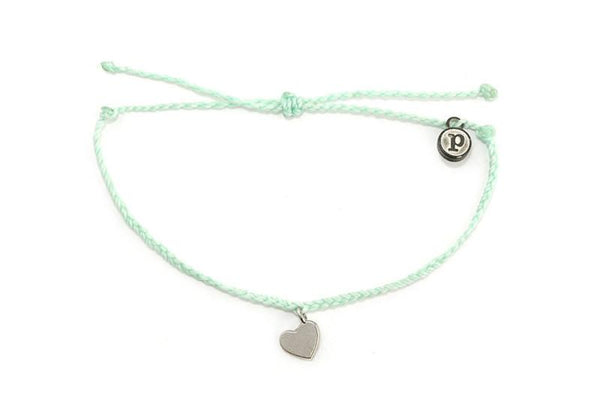 Silver Charms - Silver Bitty Heart Seafoam