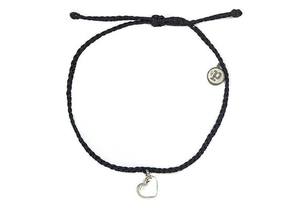 Silver Bitty Heart Black Anklet