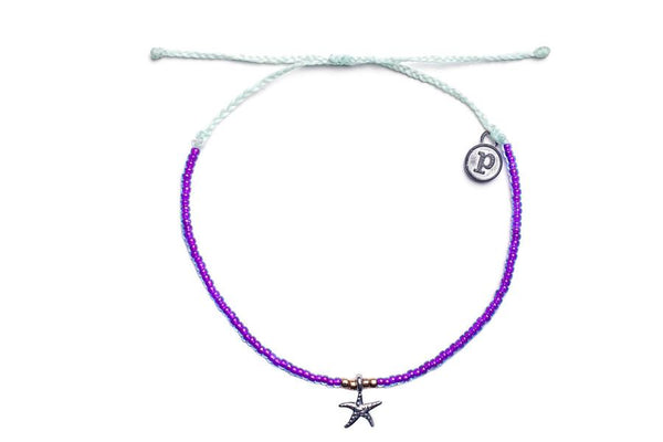 Silver 3D Bitty Starfish Purple