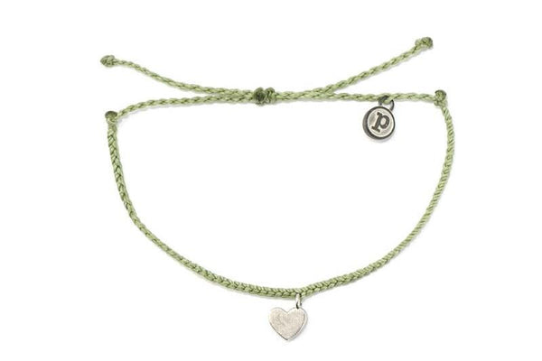 Silver Bitty Heart Sage Green