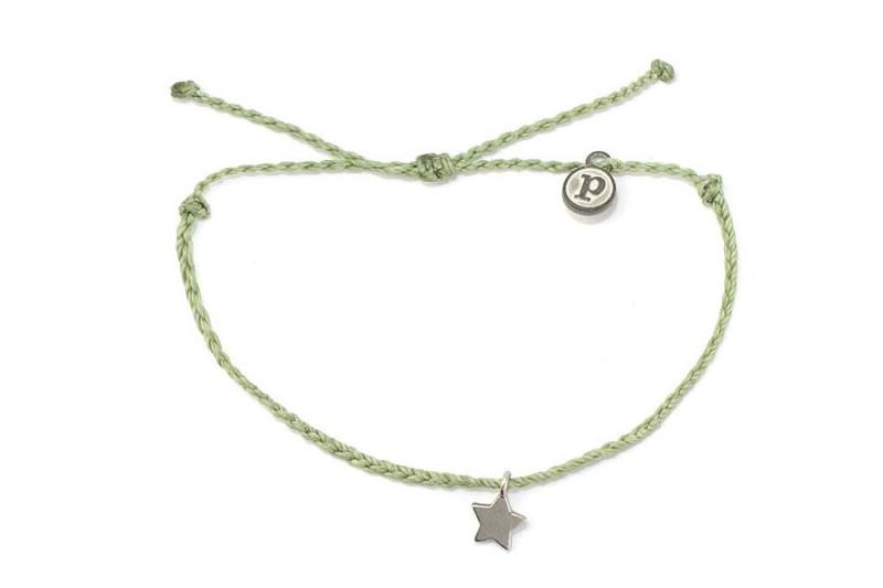 Silver Bitty Star Sage Green