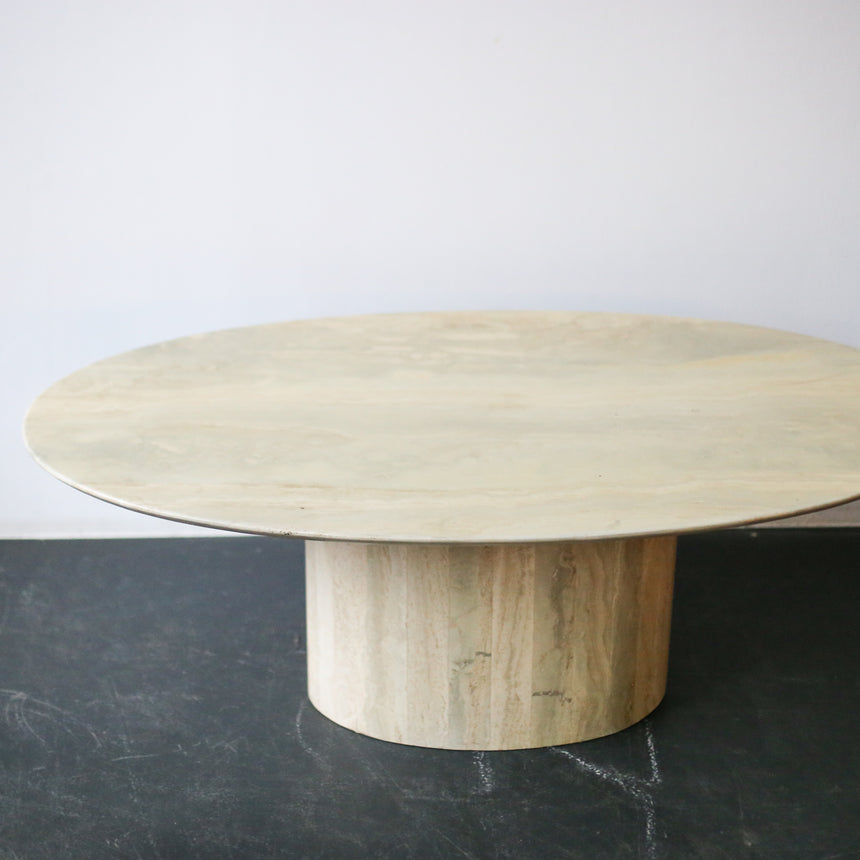 Travertine coffee table with wooden base