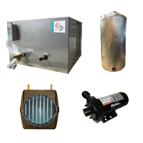 collage of package contents chilled water ice box heat exchanger, insulated reservoir for nutrient system loops, cast iron Flotec Centrifugal Pump, surna 2 ton 24000 btu spot chiller