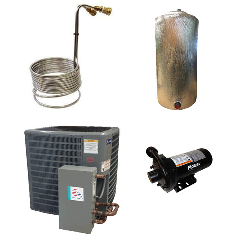 collage of package contents Cool Coil Nutrient Cooler stainless steel coil, insulated reservoir for nutrient system loops, surna chiller, cast iron Flotec Centrifugal Pump
