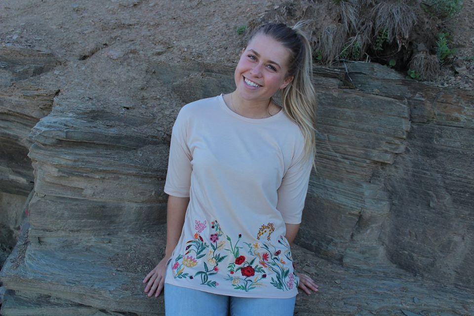 a977228d04bf6 A round neck, three quarter length sleeve, stretch tee with embroidered  floral design. Bloom in our Secret Garden Tee. Just the right balance of  comfort and ...