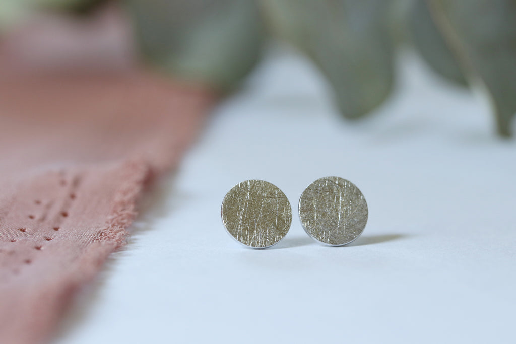 Textured Disc Earrings in Silver