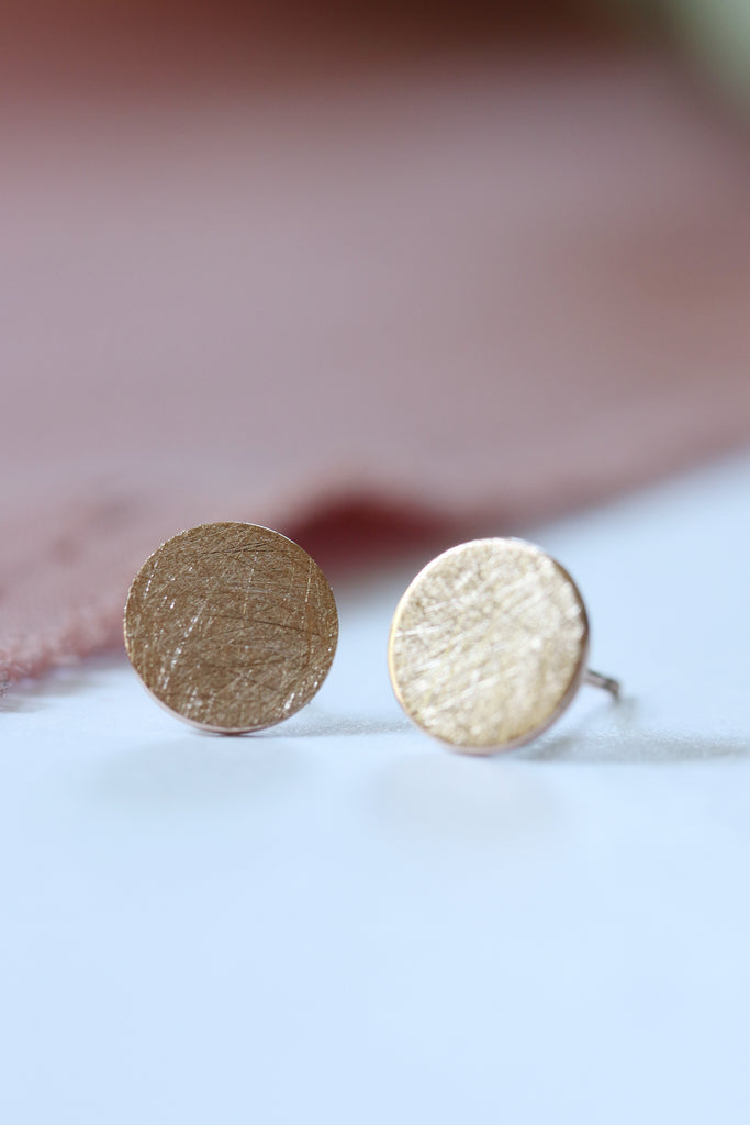 Textured Disc Earrings in Rose Gold
