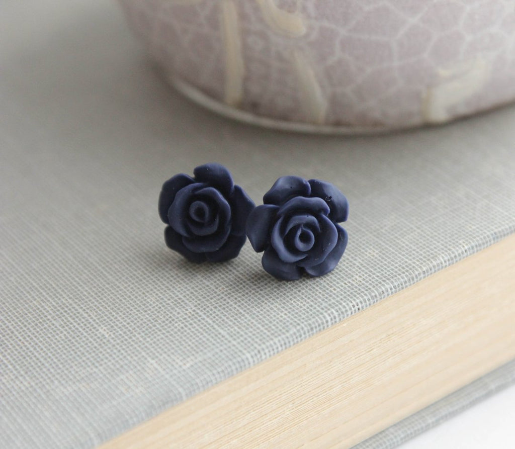Rose Studs - Midnight Blue