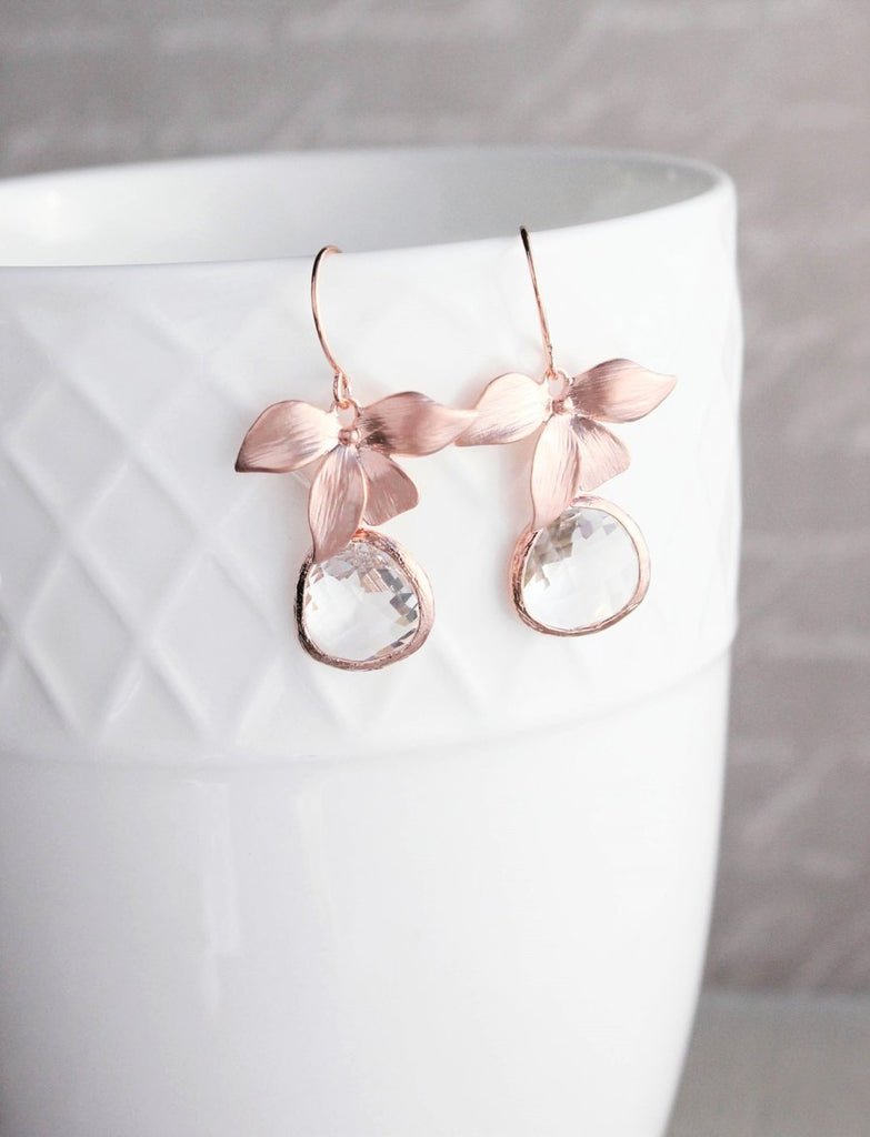 Rose Gold Orchid Earrings - Clear