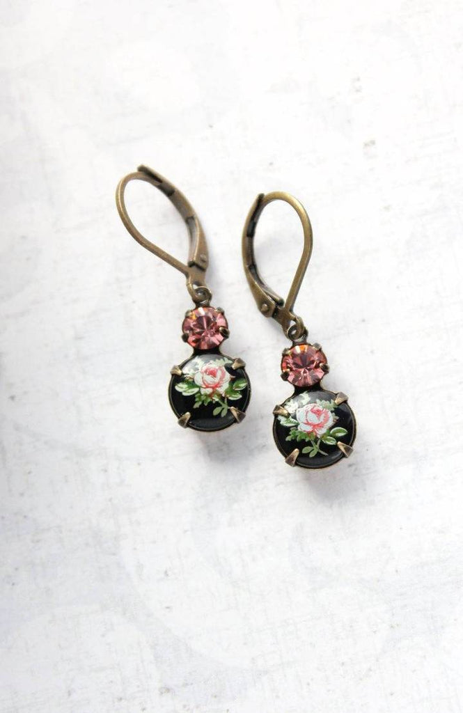 Black and Pink Rose Earrings
