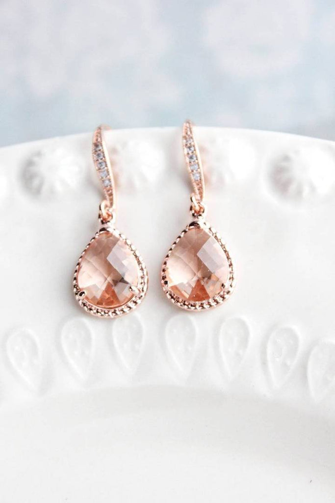 Sparkle Drop Peach Blush Earrings