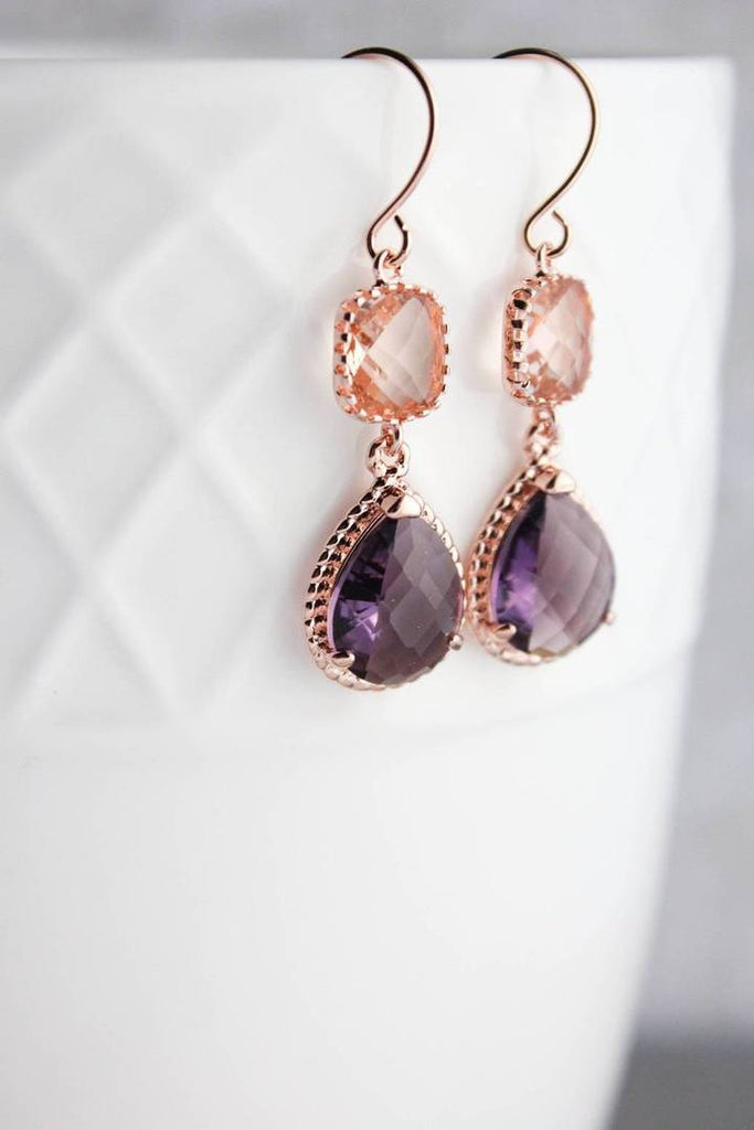 Sparkle Drop Earrings Rose Gold - Blush/Amethyst