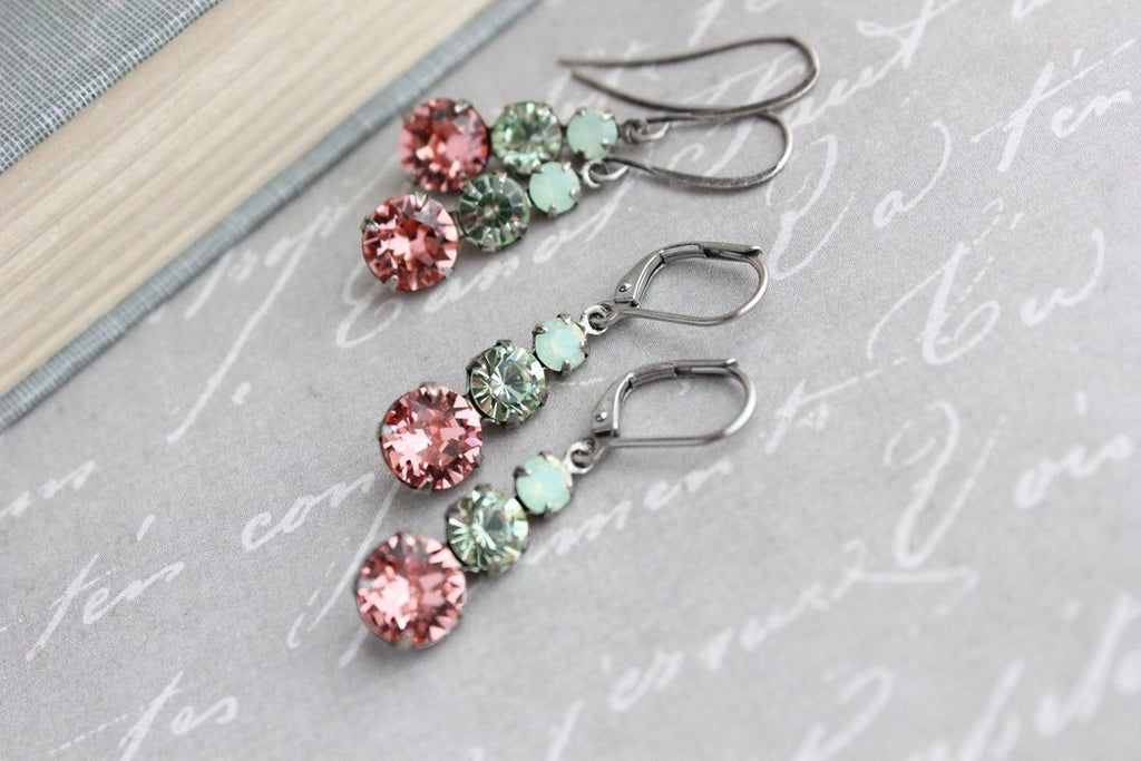 Three Jewel Drop Earrings - Pink and Mint