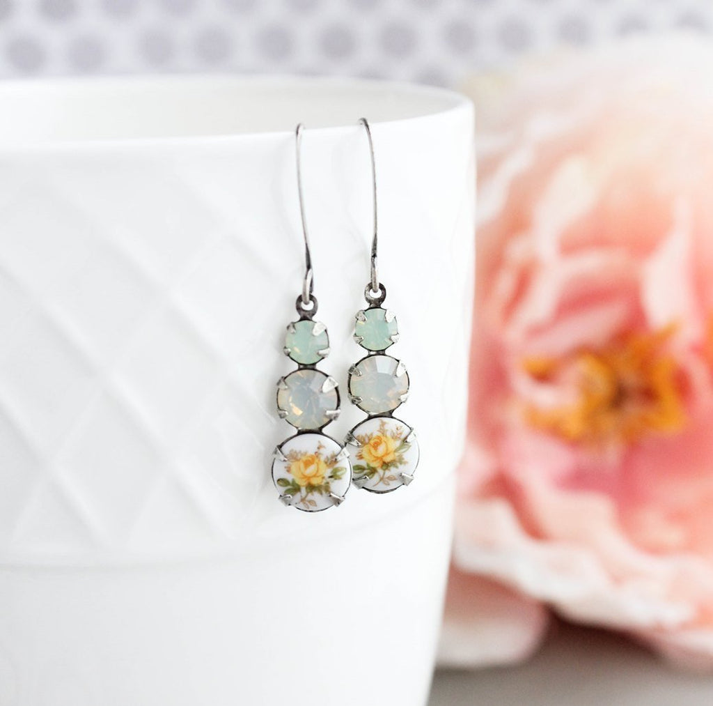 Yellow Rose Cameo Earrings