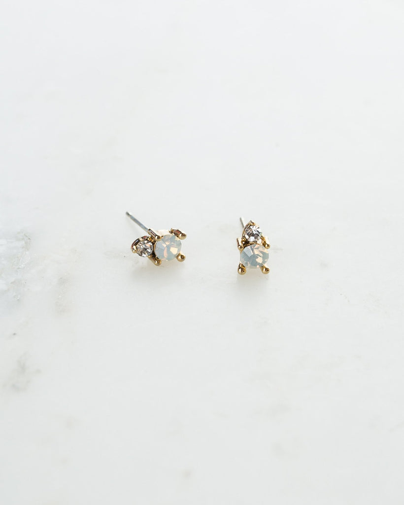 Dolce Studs - White Opal and Pink Opal