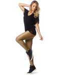 LEGGING 230 WITH ZIPPER STRASS GOLD