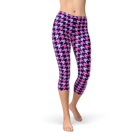 Houndstooth Pink Purple Capri Leggings