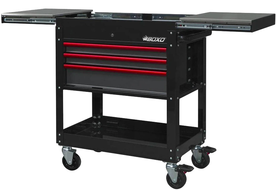 "35"" Pro Series 3-Drawer with Slide Top Service Cart (Gloss Black)"
