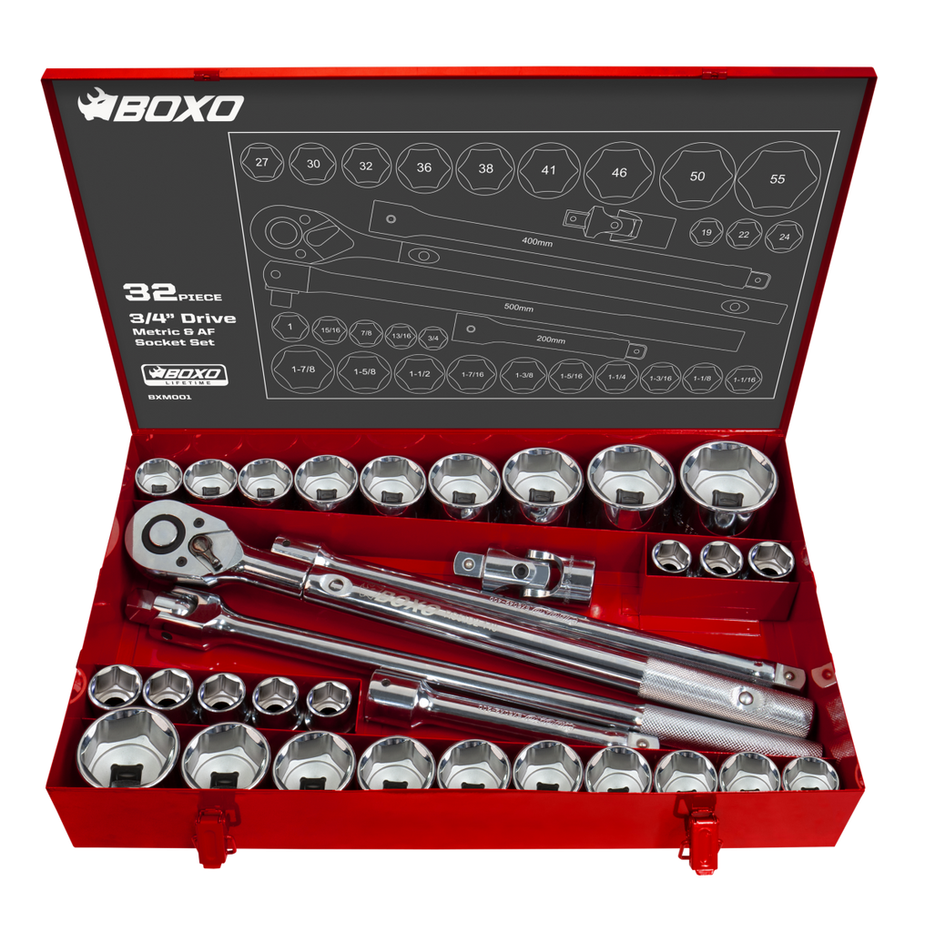 "32-Piece Metric & SAE 3/4"" Drive 6-Point Socket Set"