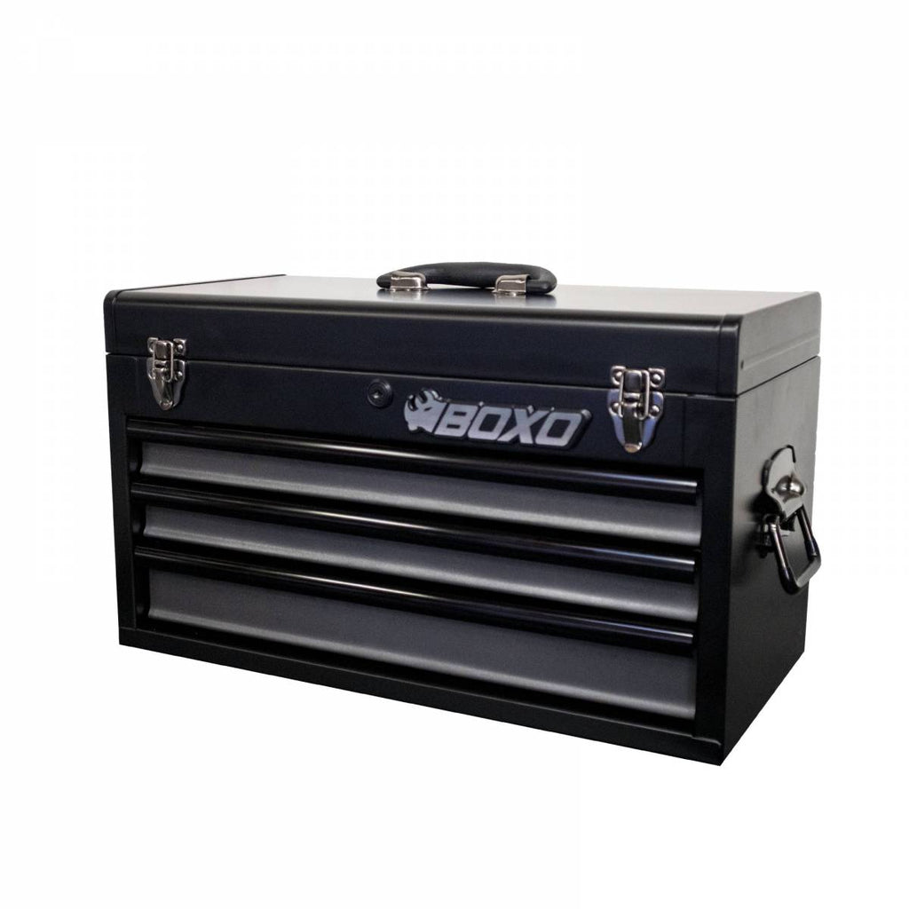 3-Drawer Hand Carry Tool Box: Black Body with Gray Drawers & Black Drawer Trim