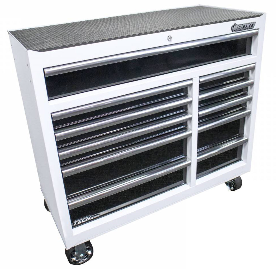 "41"" 11-Drawer Tech Series Bottom Roll Chest (Gloss White/Gloss Black Drawers/Silver Drawer Pulls)"