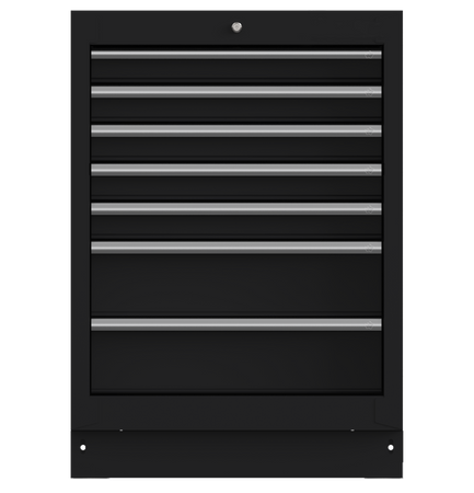 "26"" 7-Drawer Cabinet with Aluminum Handle, Dark Grey"