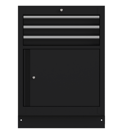 "26"" 3-Drawer Cabinet with Front Door, Aluminum Handle, Dark Grey"