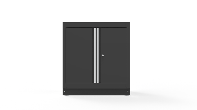 "34"" Double-Door Closet with Aluminum Handles, Dark Grey"