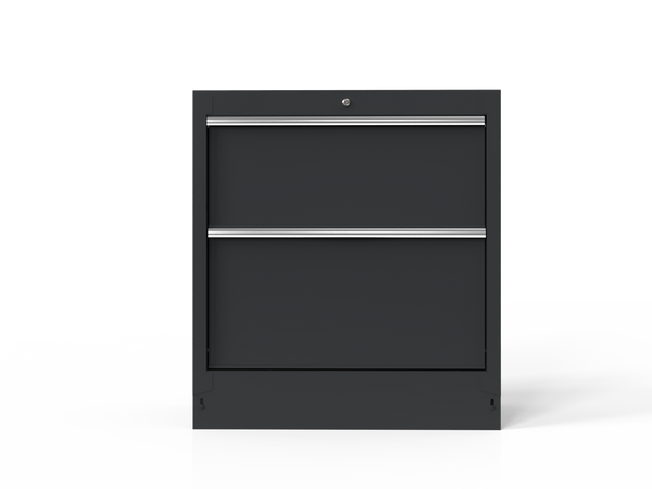 "34"" 2-Drawer Cabinet with Aluminum Handle, Dark Grey"