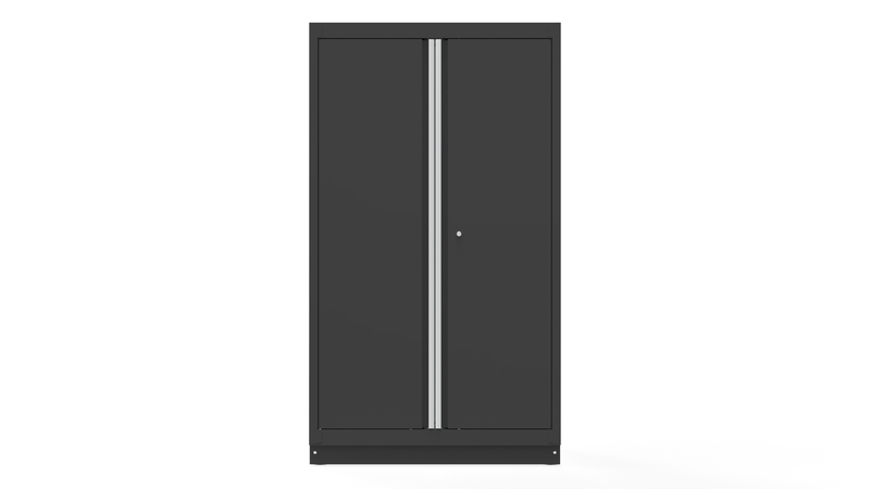 "44"" Double-Door Cabinet with Aluminum Handle, Dark Grey"