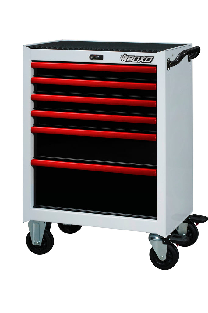 "26"" 6-Drawer Pro Series Bottom Roll Tool Cabinet (Gloss White)"