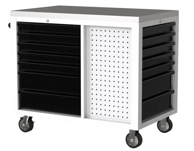 "45"" 12-Drawer Pro Series Workstation with Stainless Worktop (Gloss White)"