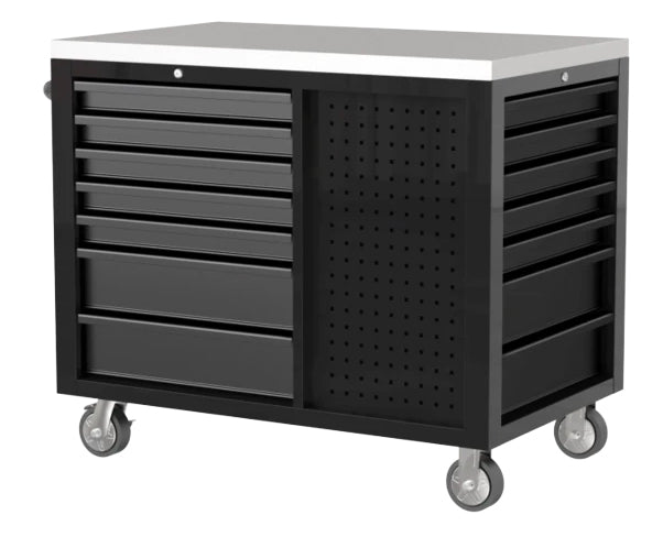 "45"" 12-Drawer Pro Series Workstation with Stainless Steel Worktop (Gloss Black)"
