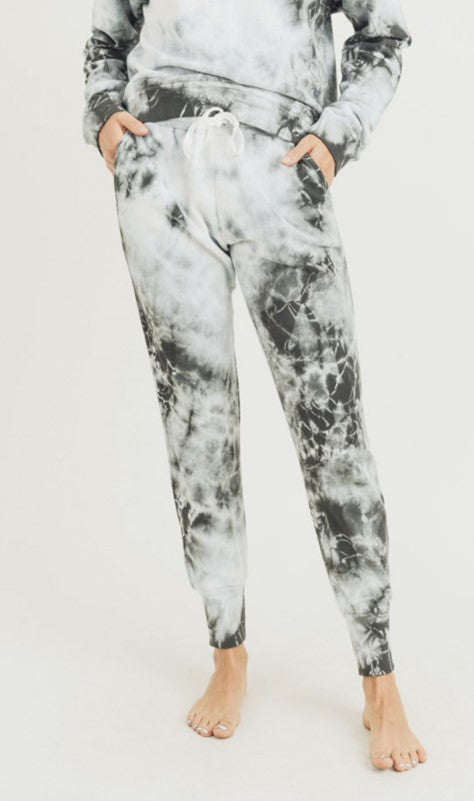 Mono B Clouds Tie-Dye Jacquard Cotton Terry Drawstring Pants