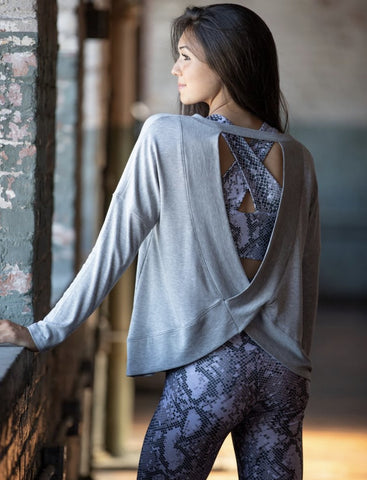 Emily Hsu Taylor Open Back Top in Heather