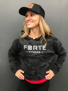 Forte Fitness Black Camo Crop Pullover w/ New Logo