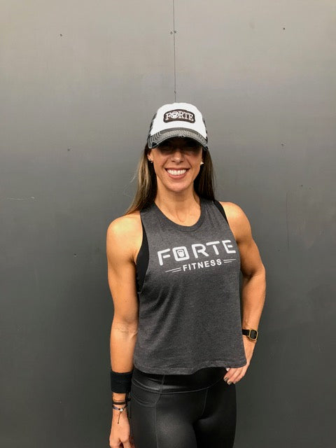 Forte Fitness Racerback Crop in Dark Grey Heather