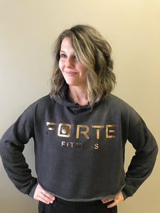Forte Fitness Crop Hoodie in Dark Grey Heather, Rose lettering