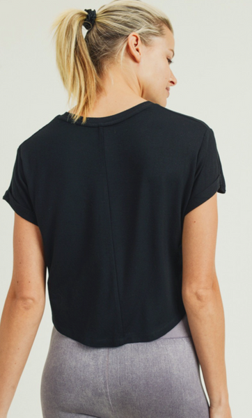 Mono B Crop Athleisure Roll-Up Sleeves in Black or White